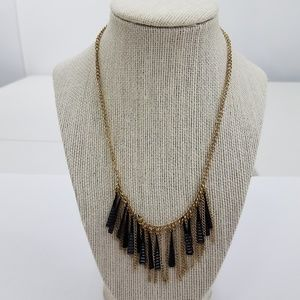 Fringe Necklace Boho Tassel Dangle Black Gold Tone